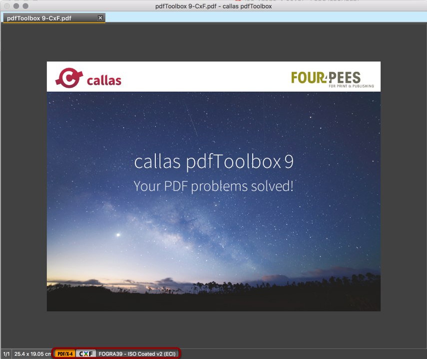The presence of CxF information in the result PDF is indicated by a CxF button at the bottom of the pdfToolbox window