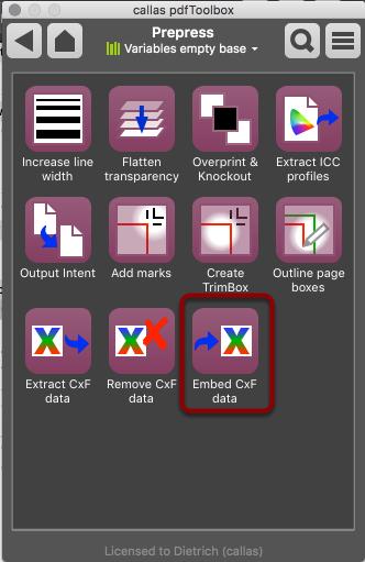 Open Switchboard -> Prepress -> Embed CxF data