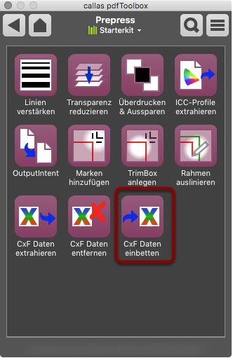 Switchboard öffnen -> Prepress -> CxF Daten einbetten
