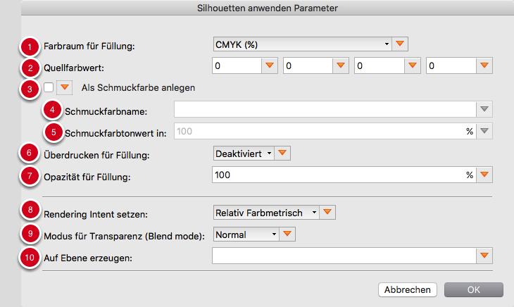 Füll-Parameter für gefüllte Silhouetten vor oder hinter dem aktuellen Seiteninhalt