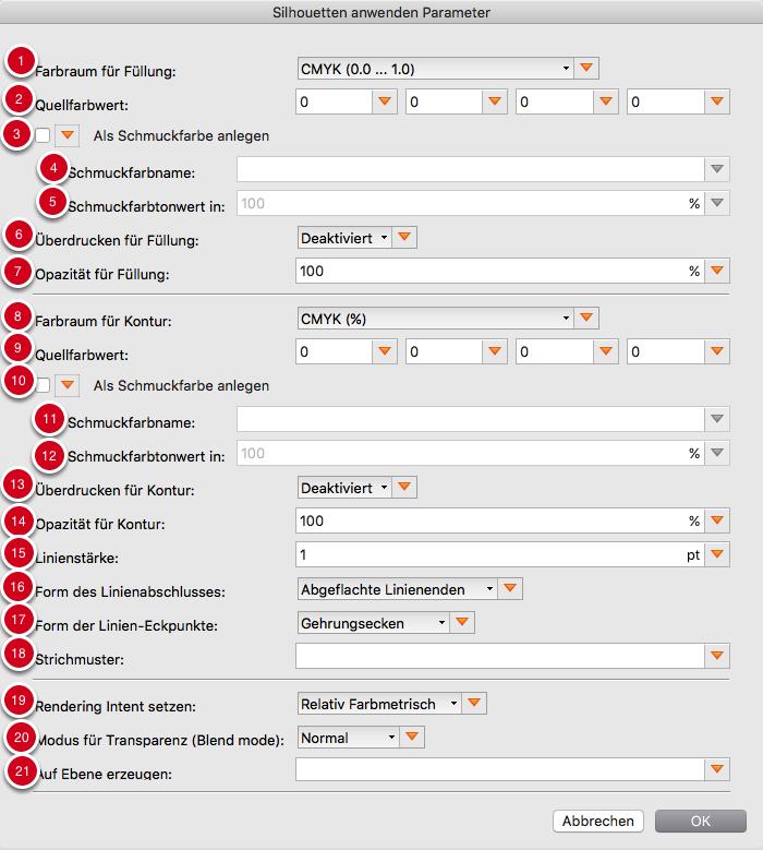 Parameter für konturierte und gefüllte Silhouette vor dem aktuellen Seiteninhalt