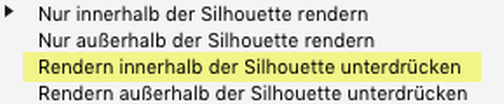 """Erörterung zu den """"Zweck der Silhouette""""-Parametern: Rendern innerhalb der Silhouette unterdrücken"""