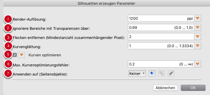 """Parameter für Silhouetten, die auf """"Vektorisieren des Seiteninhalts (ohne weiße Flächen) basieren"""