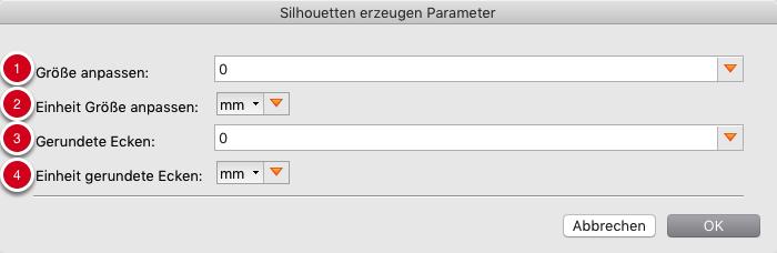 Parameter für Silhouetten, basierend auf MediaBox, CropBox, BleedBox, TrimBox, ArtBox