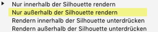 """Erörterung zu den """"Zweck der Silhouette""""-Parametern: Nur außerhalb der Silhouette rendern"""