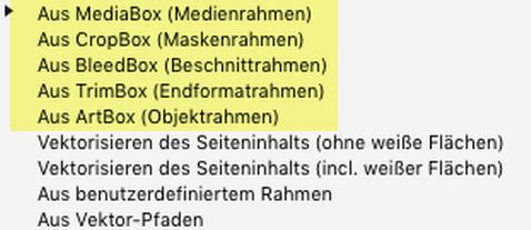 """Erörterung der Parameter """"Silhouette erzeugen: MediaBox, CropBox, BleedBox, TrimBox, ArtBox"""