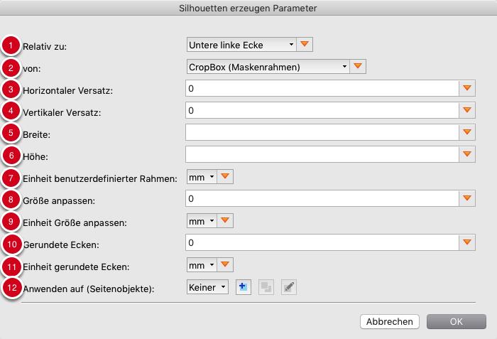 Parameter für Silhouette, die auf einem benutzerdefinierten Rahmen basieren