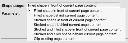 """Apply shape"": List of settings"