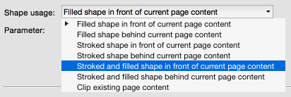 Stroking and filling shapes at the same time in front or behind existing page content
