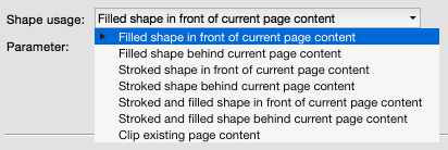 Filling shapes in front or behind existing page content