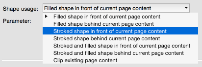 Stroking shapes in front or behind existing page content