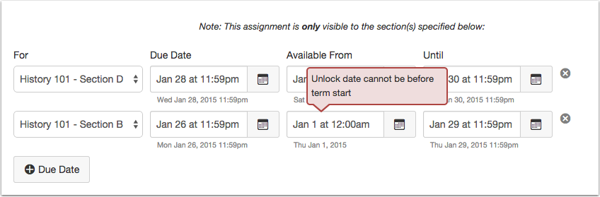 View Course or Term Date Error