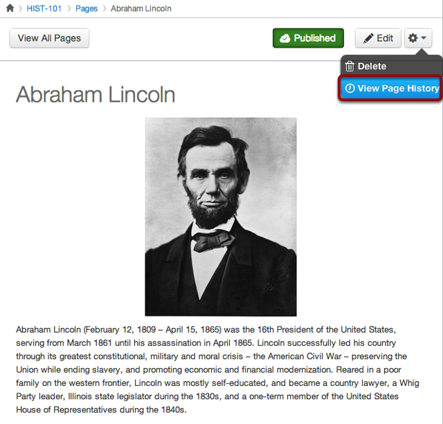 Page History Access