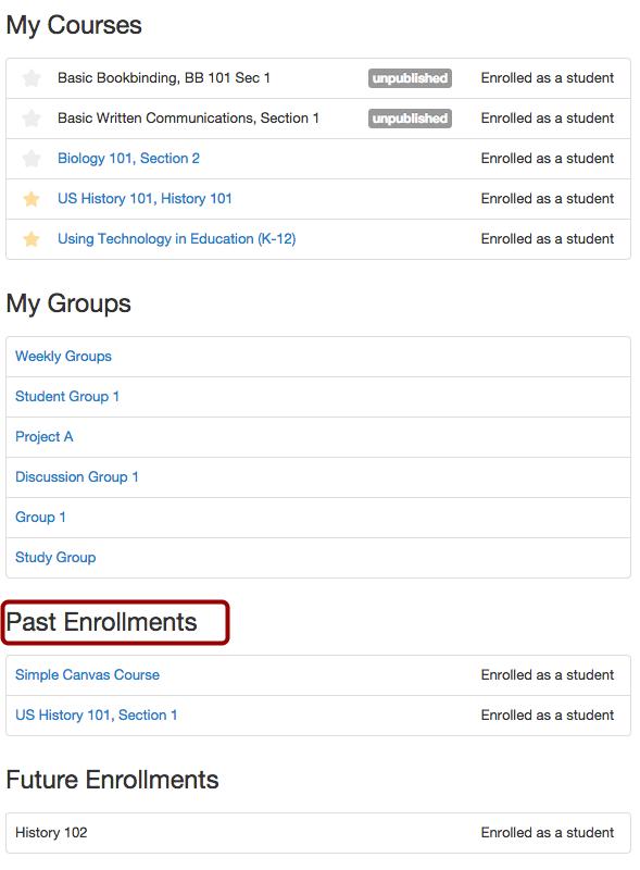 View Past Enrollments