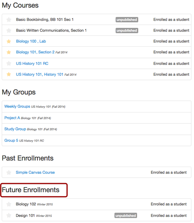 View Future Enrollments