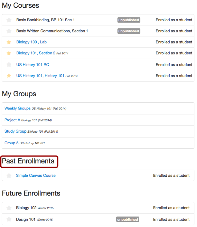 View Past Enrollments