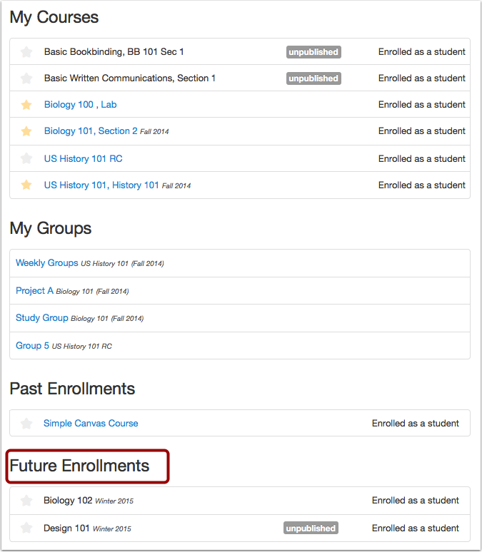 View Future Enrollments