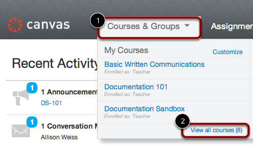 Access Courses on Dashboard