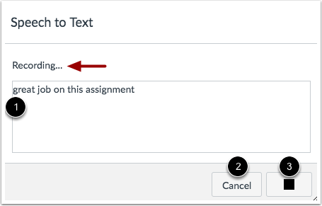 View Speech-to-Text Dialog Box