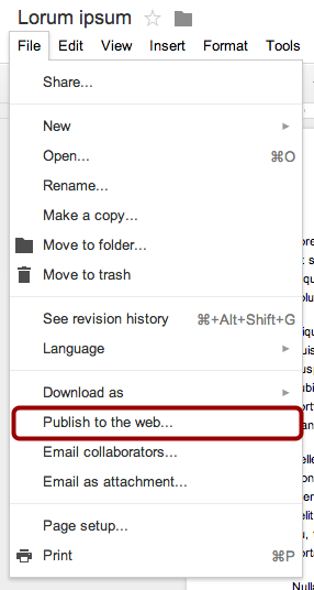 Publish to the Web