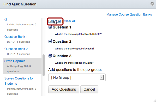 Select Questions from Your Question Bank