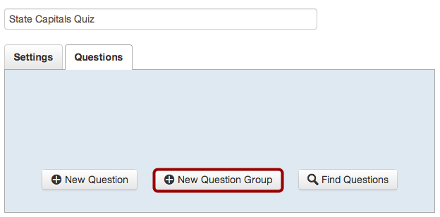 Create a New Question Group