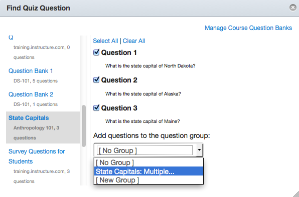 Select a Question Group