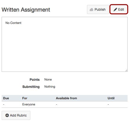 Edit Assignment