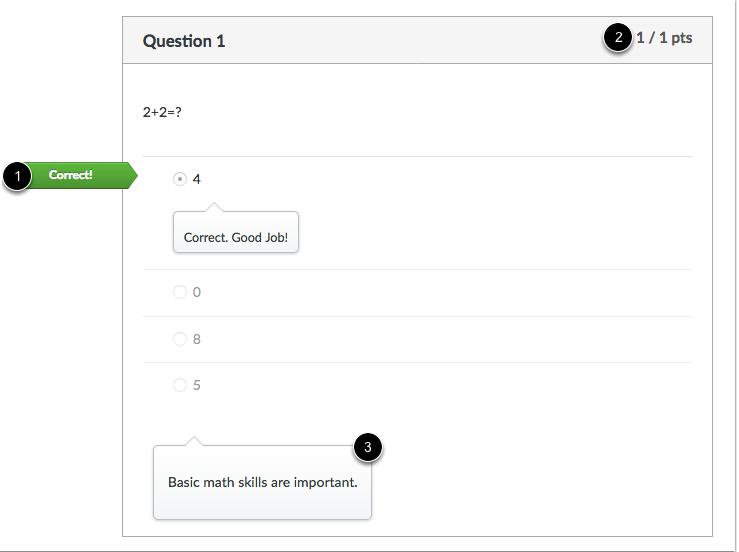 Vista de estudiante de la respuesta correcta de la pregunta de opción múltiple