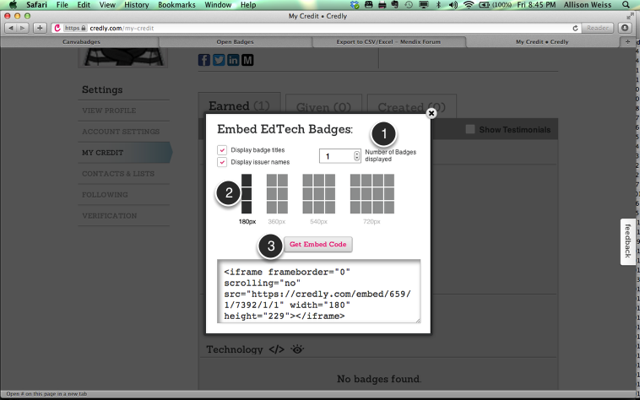 Copy Embed Code for a Category of Badges