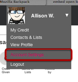 Open Credly Account Settings