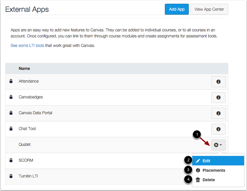 Manage Course-Level Apps