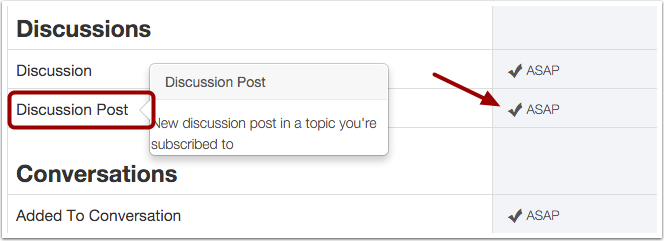 Set Notification Preference for Discussion Posts