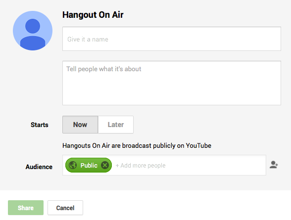 Setup Hangout On Air