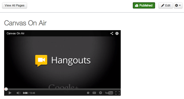 View Google+ Hangout On Air in Canvas