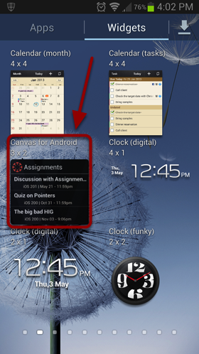 Find Canvas for Android Widget