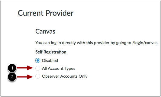Change Self Registration