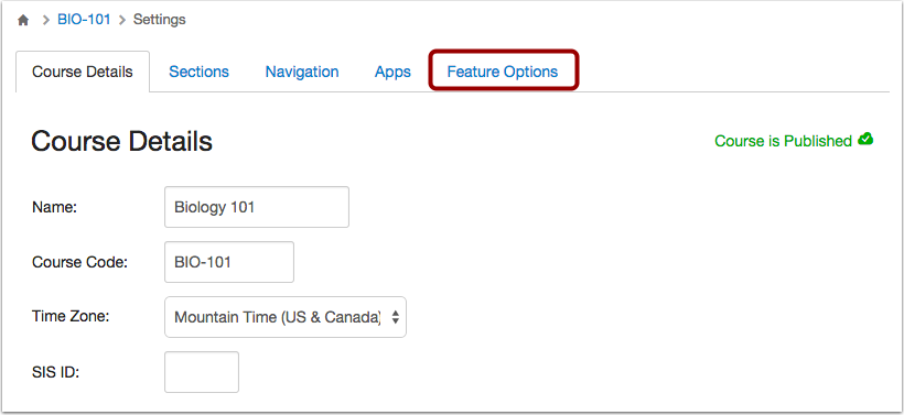 Open Feature Options Tab