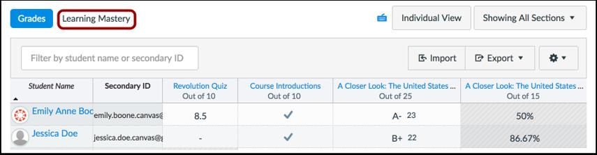 Open Learning Mastery Gradebook