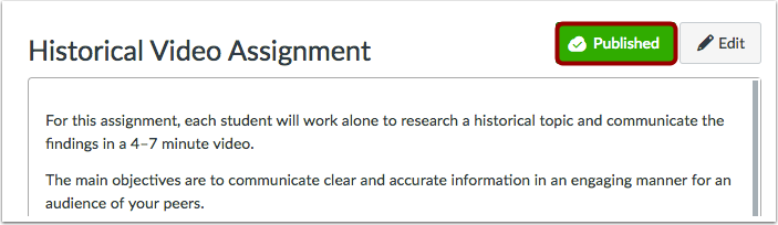 View Status within an Individual Assignment