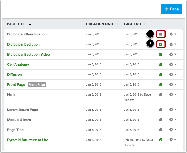 View Status of All Pages