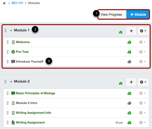 View Modules Index Page