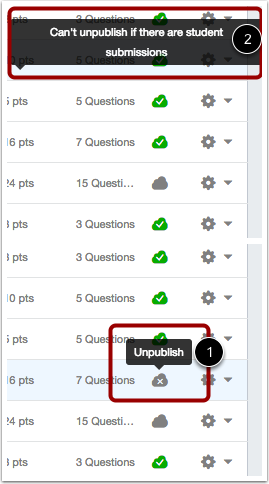Unpublish a Quiz
