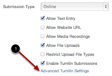 Open Turnitin Advanced Settings