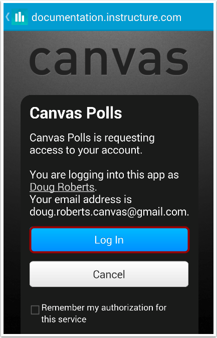 Allow Canvas Access to Account