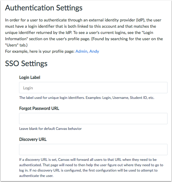 Configure SSO Settings