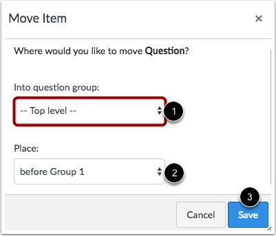 Move Question into Question Group