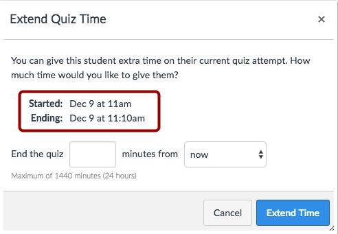 Extender el tiempo de la evaluación