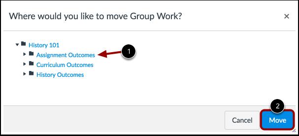 Choose Where to Move Outcome or Outcome Group