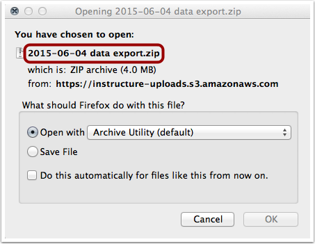 Open or Save Export